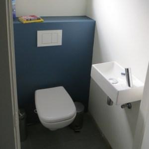 Gerenoveerd hangtoilet duravit Dcode en clou lavabo