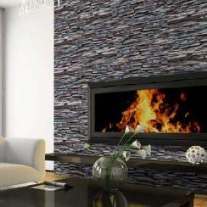 Betegel je haardvuur met ruwe natuursteen strip of keramische muurstrips.