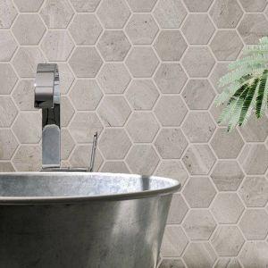 Keramische mozaïek in beige hexagoon