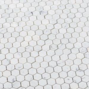Mini hexagonale marmer mozaiek in calacatta.