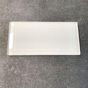 Witte metrotegels in glas, formaat 7,5x15cm.