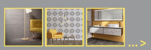 Inspiratie in tegels in pantone kleuren ultimate grey en illimunating yellow
