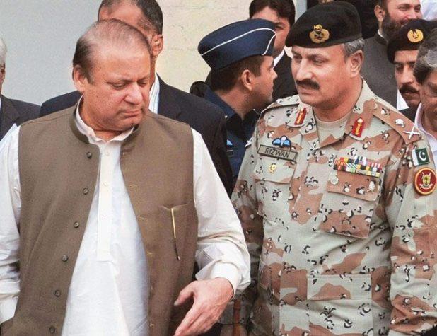 ISI chief Rizwan Akhtar with the prime minister of Pakistan Nawaz Sharif