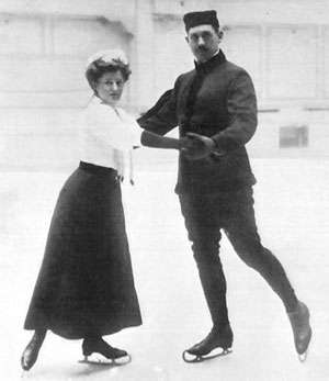 Anna Hubler and Heinrich Burger, who captured the pairs figure skating competition at the 1908 Summer Olympics. (The Fourth Olympiad London 1908 Official Report)
