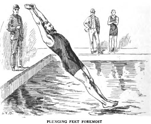 Picture of a swimmer plunging feet first (the plunge for distance was a competitive swimming event in the 19th and early 20th century