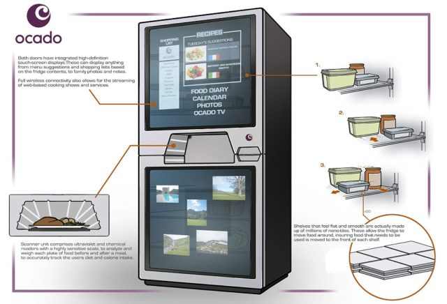 """NATIONAL PICTURES A fridge of the future that tells you what to cook with your left-overs and automatically re-orders fresh food is being designed in the UK. The self-cleaning """"fridge of the future"""" will automatically place supermarket home delivery orders when required and move food near its use by date to the front of the shelves. Researchers hope the fridge could clean itself, cut down on wasted food and offer up recipes - which could be tailored to different countries, cuisines and seasons depending on whether people want to whip up something Italian or fancy a curry."""