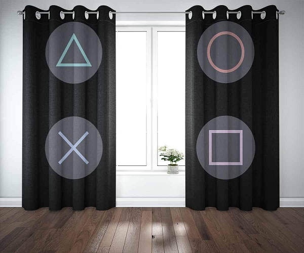 Capsceoll PlayStation Icon Window Curtains