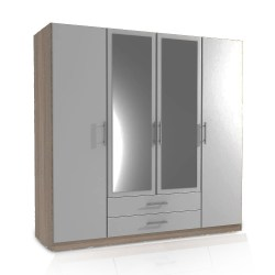 Germanica™ SPEYER Bedroom Furniture 4 Door Wardrobe in LIGHT OAK & WHITE Colour MADE IN GERMANY