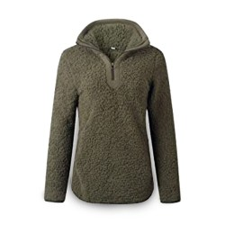 Toptopdeal Happy Sailed Women's Casual Fuzzy Fleece Zip Up Fluffy Pullover Sweatshirt Outwear