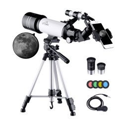 Toptopdeal-150X-Telescope-for-Kids-Astronomy-Beginners-Adults,-70mm-HD-Refractor-Telescope-for-Astronomy,-Starter-Scope-with-Tripod,-Phone-Adapter,-Finder-Scope,-Moon-Filter