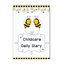Toptopdeal-Childcare-Diary,-EYFS-Links,-Daily-Log-Record-Diary,-Childminders,-Early-Years-Care,-Bees-Cover.-(No-PVC)