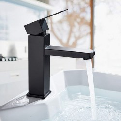toptopdeal Bathroom Basin Taps Single Lever Basin Mixer Taps for Lavatory and Washroom Short Matte Black Solid Brass Tap