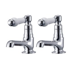 toptopdeal Hapilife DT20E Basin Pair Victoria Traditional Bathroom Sink Taps Mixers Ceramic Lever, Chrome & White