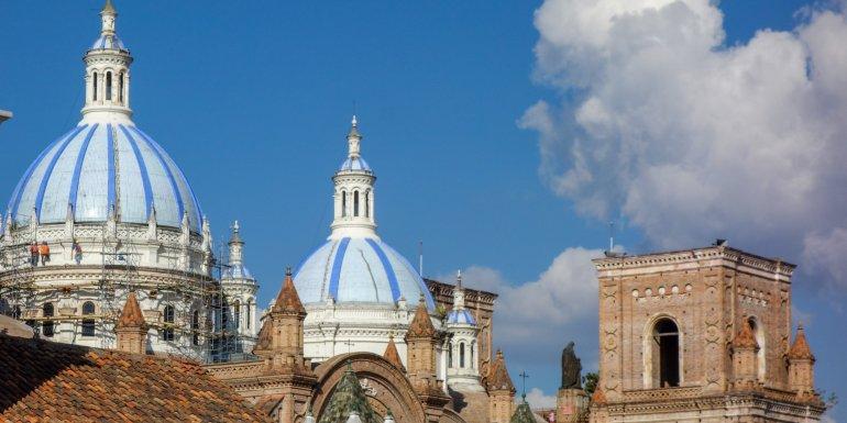Blue domes in Cuenca, Ecuador