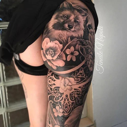 Back of Thigh Tattoo For Women