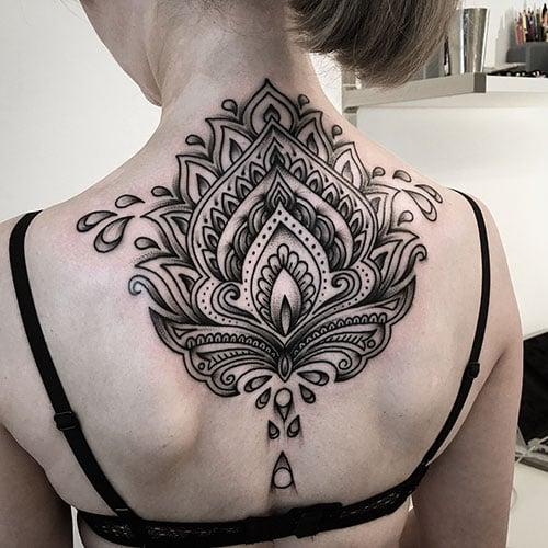 Black and White Lotus Flower Tattoo Designs