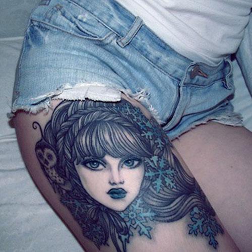 Cool Female Thigh Tattoo Ideas