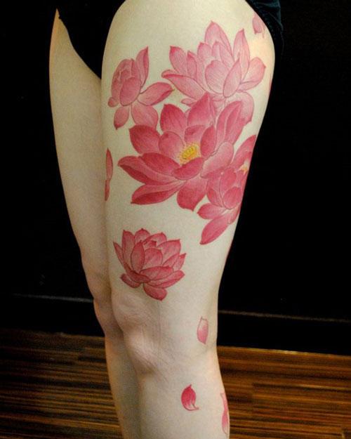 Cool Pink Lotus Flower Tattoos For Women