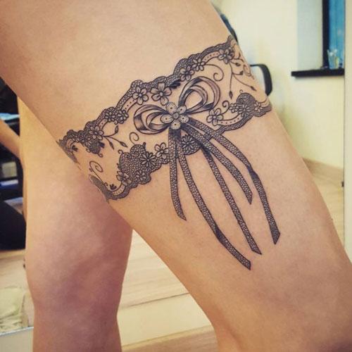 Cute Lace Thigh Tattoo