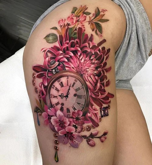 Outer Thigh Tattoos For Women