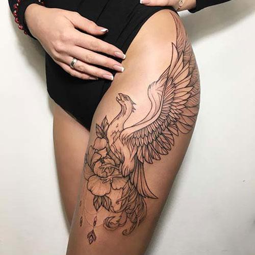 Phoenix Thigh Tattoo