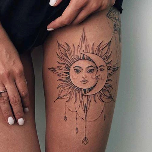 Sun and Moon Thigh Tattoos