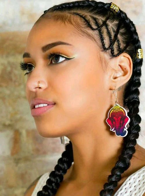 Two Cornrow Braids with Extensions