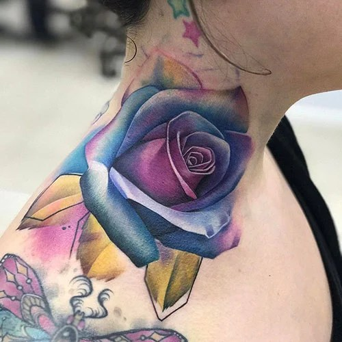 Colorful Rose Neck Tattoo