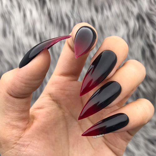 Red and Black Stiletto Nails