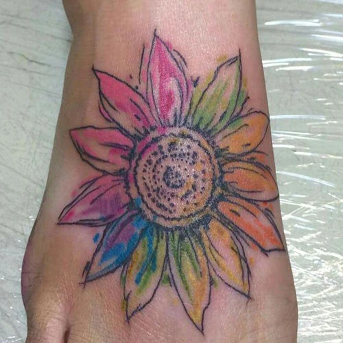 Colorful Sunflower Foot Tattoo