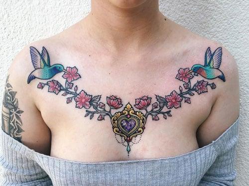Cute Chest Sternum Tattoo