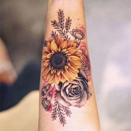 Forearm Sunflower Tattoo