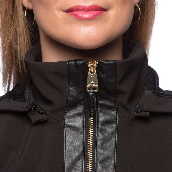 Women's Black Fleece-lined Soft Shell Coat