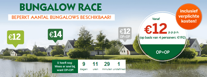 Bungalow race Center Parcs aanbieding