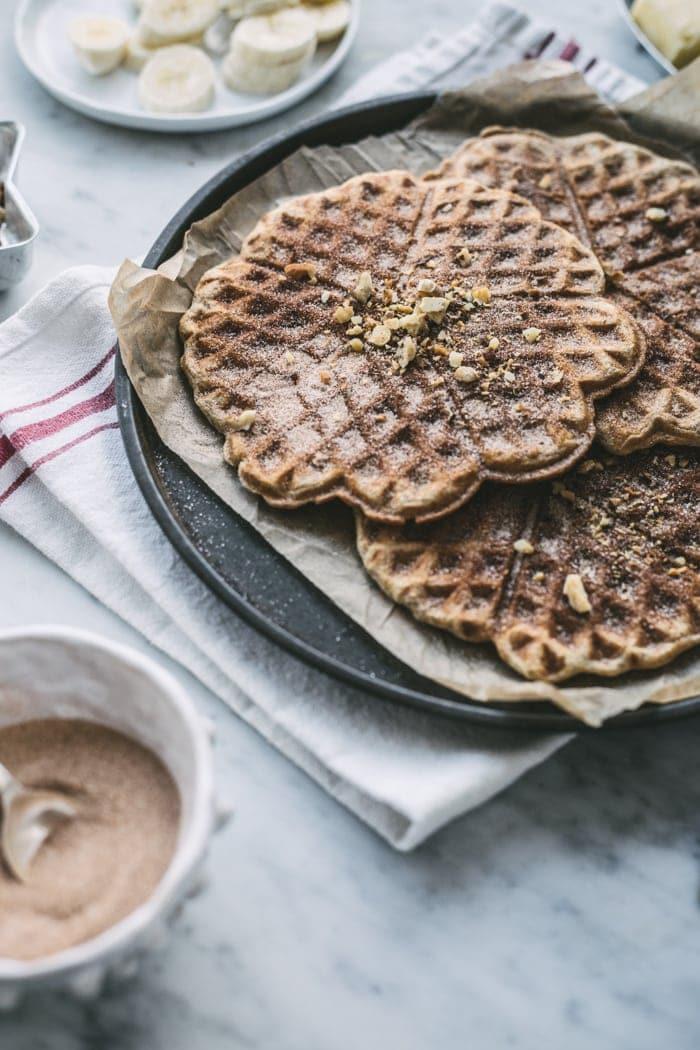 Whole Grain Banana Bread Waffles (with cinnamon-sugar)