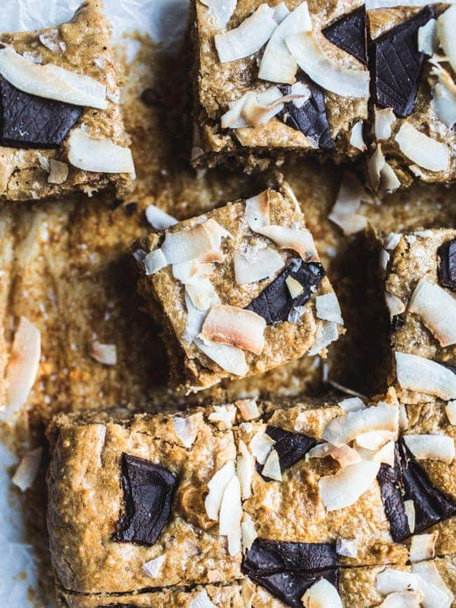 Flourless Chocolate Chunk + Coconut Blondies {Grain Free, Gluten Free + Dairy Free}-4