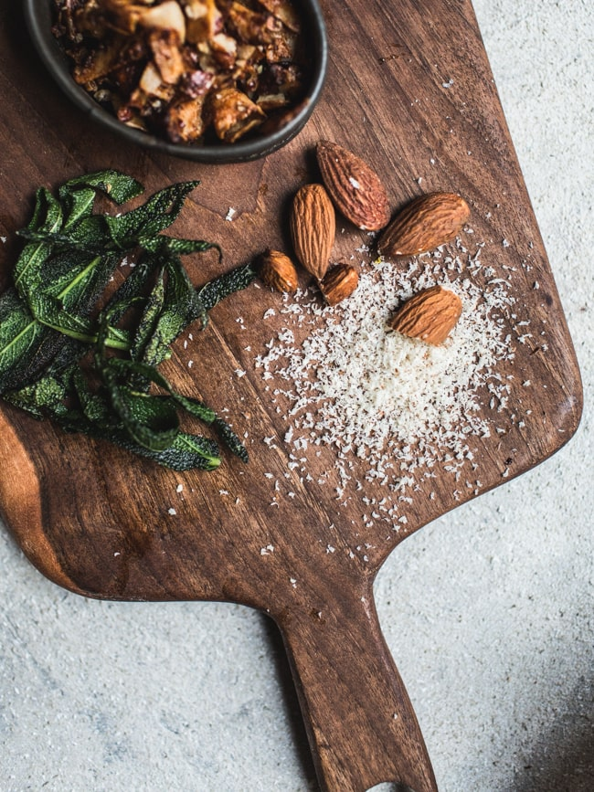 Vegan Butternut Squash 'Carbonara' with Coconut Bacon + Crispy Sage