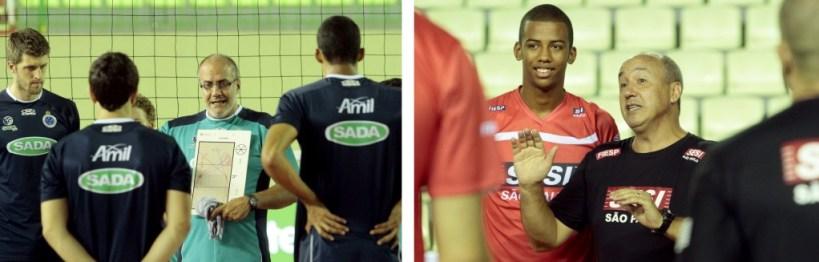 Técnicos Marcelo Mendez, do Sada Cruzeiro, e Marcos Pacheco, do Sesi-SP