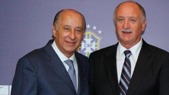 Del Nero (esquerda) tem amizade com Felipão e vê erros  contra a Alemanha como normais no trabalho de um treinador