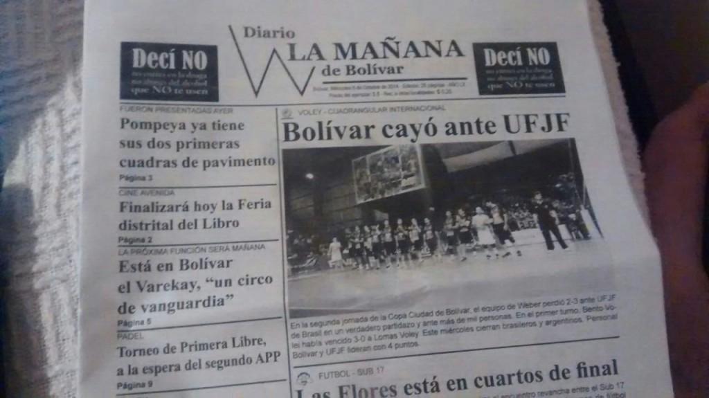 Vitória da Federal sobre Personal Bolívar ganhou destaque - e manchete - na imprensa local. Time da casa tem títulos nacionais e sul-americanos