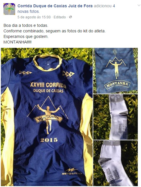 Kit Atleta da Corrida Duque de Caxias Juiz de Fora 2015