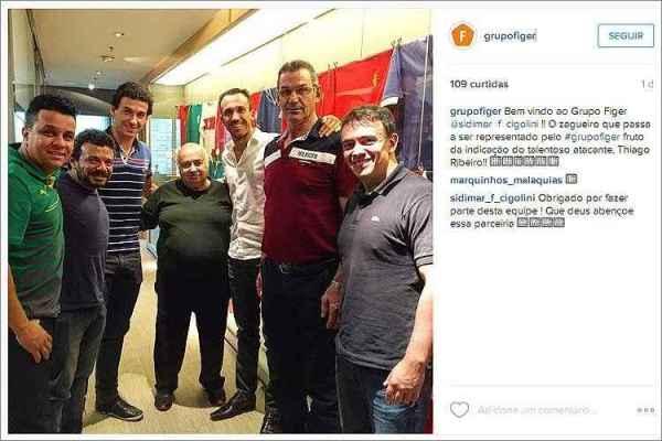 Sidimar, Thiago Ribeiro e representantes do Grupo Figer no anúncio da nova parceria (Foto: Divulgação)