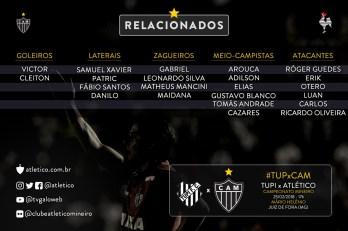 Atlético relaciona titulares, mas não anuncia escalação contra o Tupi