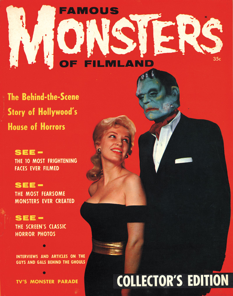 Famous Monsters of Filmland, February 1958, Central Publications.  The cover of the premiere issue. Click to enlarge.