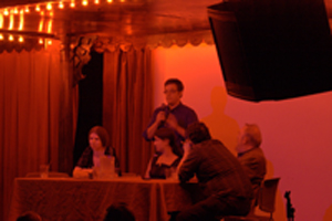 L to R: Panel with Liz Gorinsky, Jess Nevins (standing), S. J. Chambers, Michael Moorcock, and Rick Klaw