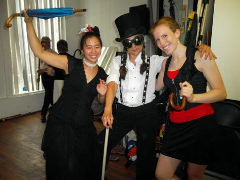 Annie, Lynn and Casey are some of the participants at the bartitsu seminar