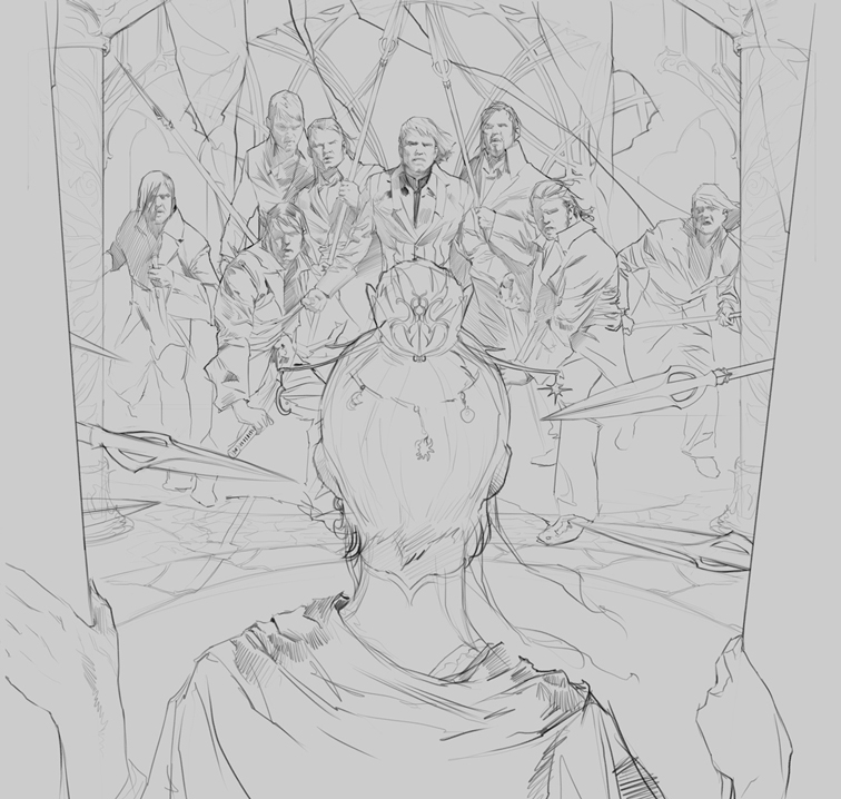 Tyler Jacobson's Crown of Swords cover in progress.