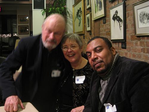 Author Joe Haldeman, Gay Haldeman, and film critic/writer/man-about-town Mike Sargent
