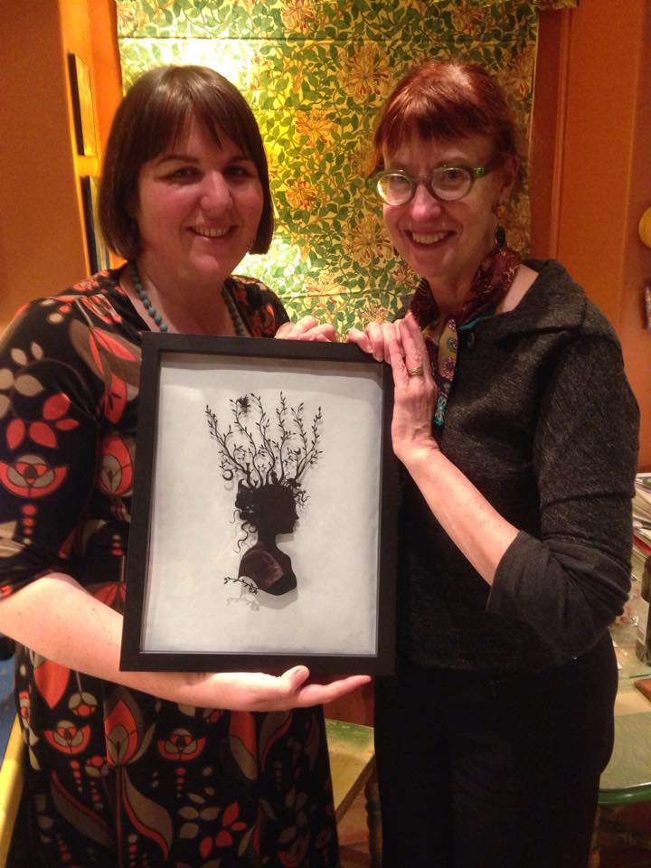Kathleen and me with the original silhouette, which I bought at World Fantasy Con