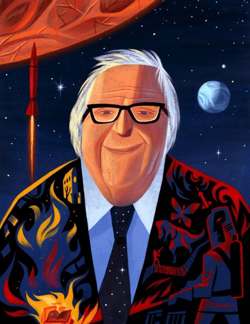 Ray Bradbury by Pixar artist Lou Romano.
